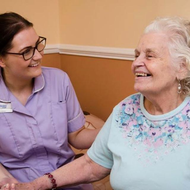 Care workers in nursing home